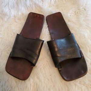 Jutta Neumann black handmade slides sandals